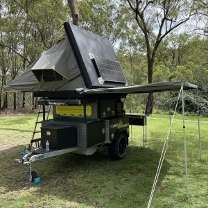 exceed roof top tent trailer on site