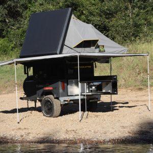 roof top tent trailer tent unpacked